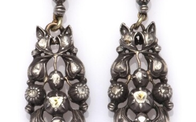 A pair of antique 14k gold and silver diamond earrings