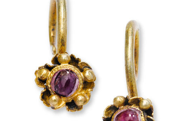 A pair of gilt silver and ruby earrings, erhuan