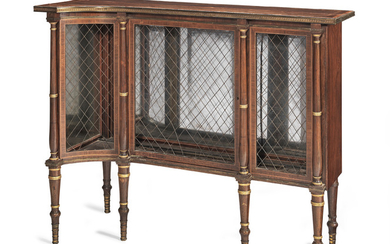 A pair of late George III brass mounted rosewood, satinwood crossbanded and sycamore line-inlaid low corner display cabinets