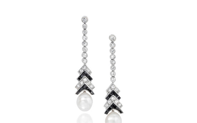 A pair of natural pearl, diamond and onyx earrings,