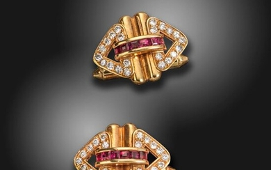 A pair ruby and diamond-set gold cufflinks, set with a line of square-shaped rubies and round brilliant-cut diamond-set stylised chevrons, 2cm wide