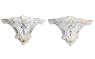 A very rare pair of Künersberg faience console brackets, circa 1750