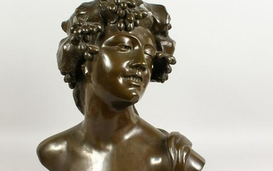 AFTER LAMBEAUX A LARGE CAST BRONZE BUST OF A YOUNG