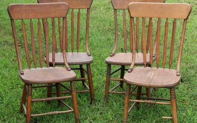 AMERICAN ANTIQUE SOUTHERN OAK CHAIR SET OF FOUR