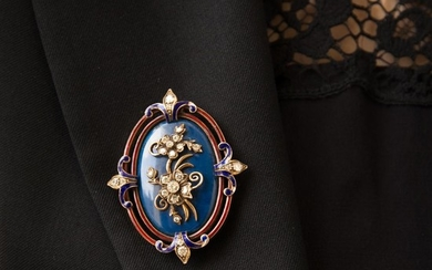 ANNEES 1880 BROCHE JASPE BLEU A diamond, jasper, enamel and gold brooch, circa 1880.