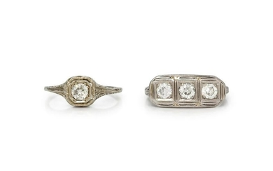 ANTIQUE, COLLECTION OF DIAMOND RINGS