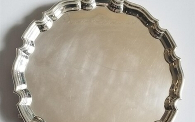 ANTIQUE STERLING SILVER SALVER TRAY SHEFFIELD