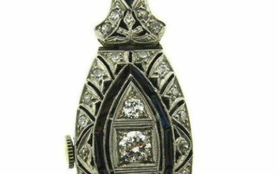 ART DECO C.1925 PLATINUM DIAMOND WATCH PENDANT NECKLACE