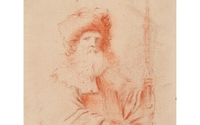 ATTRIBUTED TO GUERCINO (ITALIAN 1591-1666) SKETCH OF BEARDED MAN IN TURBAN