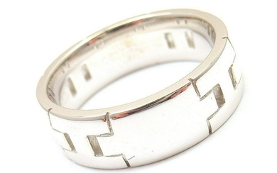 "AUTHENTIC HERMES 18K WHITE GOLD HERCULES ""H"" BAND RING"