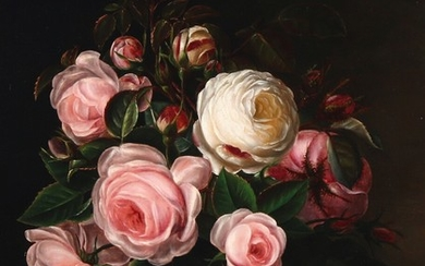 Alfrida Baadsgaard: Still life with pink roses on a stone sill. Signed Alfrida. Oil on panel. 41×32 cm.