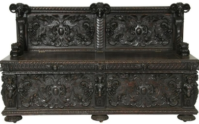 American Carved Oak Hall Bench