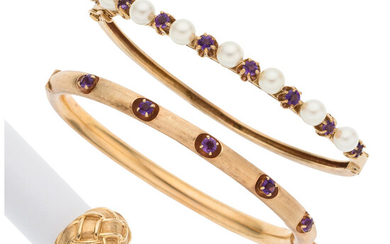 Amethyst, Cultured Pearl, Gold Jewelry Lot The lot consists...