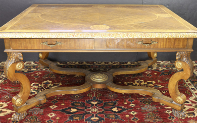 An Italian Alberto Issel partial gilt library table