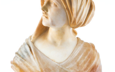 An Italian Carved Alabaster and Onyx Bust of a Woman (early 20th century)