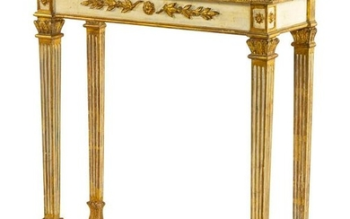 An Italian Painted and Parcel Gilt Console Table