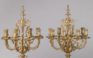 An important PAIR OF CANDELABRES by BARBEDIENNE in chased ormolu with eight light arms, topped by a spinning top supported by four brackets decorated with acanthus leaves and small balls in relief, the bobbins decorated with foliage surmounted by a...