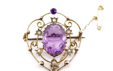 Antique Australian 9ct rose gold brooch set with amethysts a...