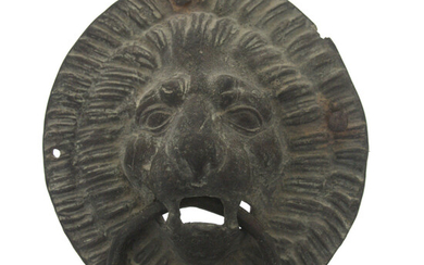 Antique Bronze Lion Head Doorknocker.
