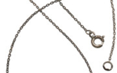 Antique Diamond, Silver-Topped Gold Necklace The pendant features single...