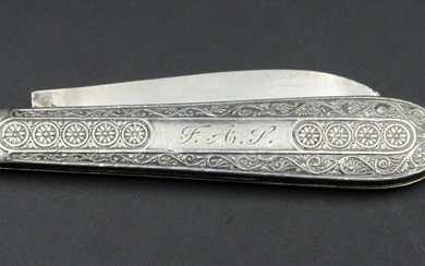 Antique English Large Two Blade Folding Sterling Silver