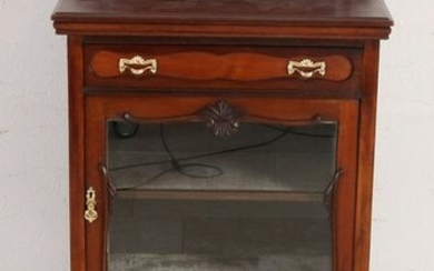 Antique English mahogany one-door cabinet with display