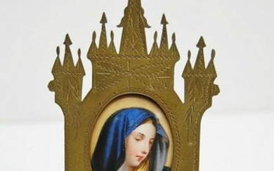 Antique French Wall Hanging with Enamel of Mary +