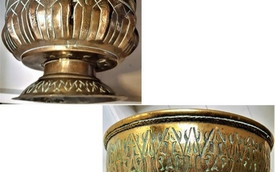 Antique Mughal bowls (2) - Floral - bronze, copper - Flowers, Lotus - Northern India - 17th / 18th century