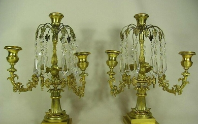 Antique Pair of Bronze Candelabras carried by an Eagle