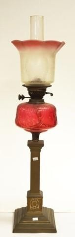 Antique ruby glass & brass banquet lamp etched ruby glass sh...