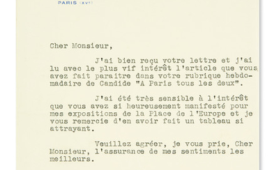 (BUSINESS.) CITROËN, ANDRÉ. Typed Letter Signed, to journalist and author Miguel Zamacois, in French