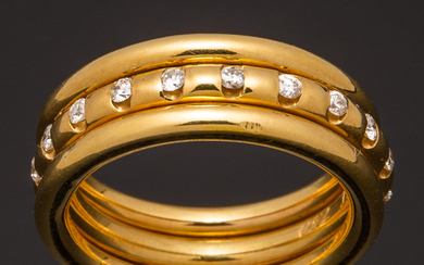 Band ring with brilliant cut diamonds, 750 gold