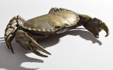 Bronze Articulated Life-size Crab Inkwell, Manner of Wesley Trippett