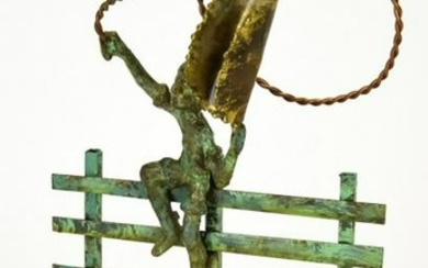 Bronze & Marble Sculpture Young Cowboy on Fence