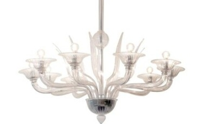 CHANDELIER AND PAIR OF WALL LIGHTS IN MURANO GLASS