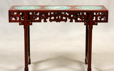 CHINESE CARVED TEAKWOOD & CLOISONNE ALTAR TABLE
