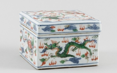 CHINESE WUCAI PORCELAIN SQUARE COVERED BOX Decoration of a dragon and phoenix chasing a fiery pearl. Six-character Kangxi mark on ba...
