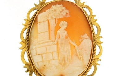 Cameo brooch with 9ct gold mount, depicting a female with wh...