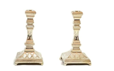 Candlestick (2) - .925 silver - Israel - 20th century