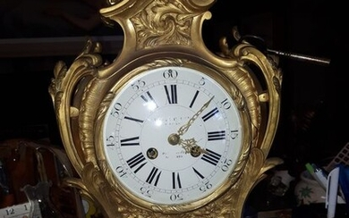 Cartel clock - style louis XV/ Napoléon III - Bronze (gilt/silvered/patinated/cold painted) - Second half 19th century