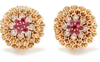Cartier, A Pair of Diamond, Ruby and Gold Earrings