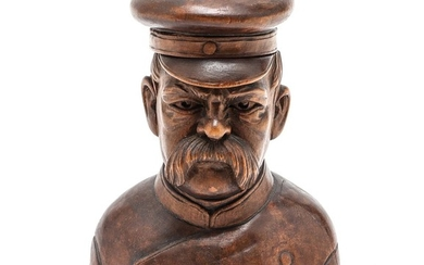 Carved Wooden Bust of Sailor Figural Inkwell