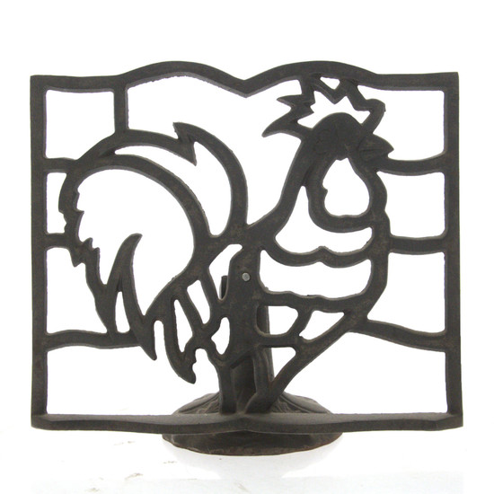 Cast Iron Rooster Cocking Book Stand.