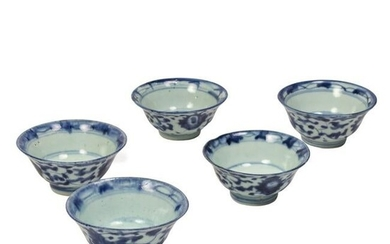 Chinese Antique Blue and White Wine Cups GROUP SET