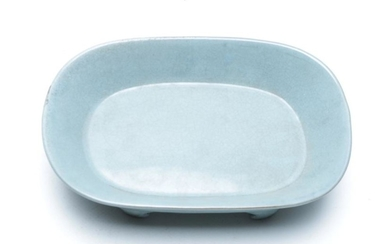 Chinese Ru style Glazed Oval Shaped Ceremonial Bowl Raised on Four Feet, mark to base, H5.5cm, W19.5cm D12.5cm