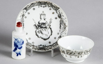 Chinese export cup and saucer and snuff bottle