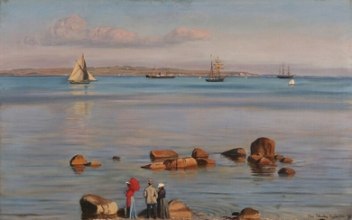 Christian Blache: Coastal scene with figures watching the ships passing by. Signed and dated Chr. Blache 90. Oil on canvas. 60.5×95 cm.