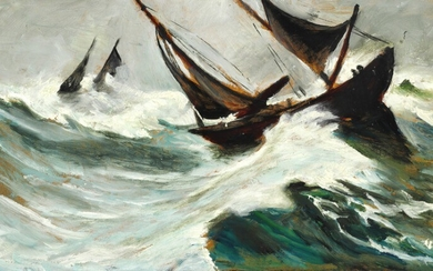 Christian Krohg: Ships in a hurricane. Signed C. Krohg (in one word). Oil on panel. 24×43 cm.