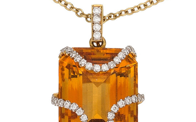Citrine, Diamond, Gold Pendant-Necklace The pendant features an emerald-shaped...