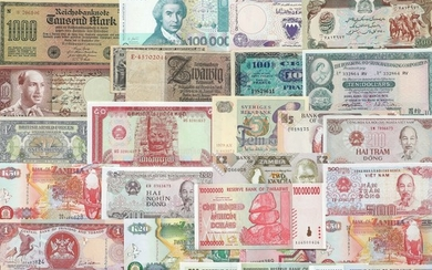 Collection of banknotes from all over the world, in total 110 pcs of which the main part in uncirculated condition and incl. some better notes
